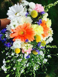 Ak Bouquet. Www.akbouquet.com, forget me not, Wildflower, Orange gerbera, Billy ball, Daisy, Alaska wedding