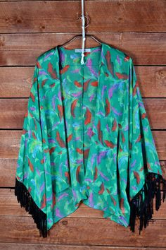 Feather Print Kimono with Fringe