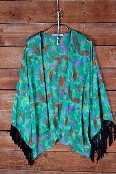 Feather Print Kimono with Fringe