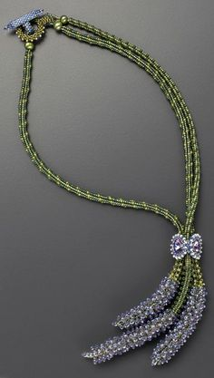"""Laura McCabe,""""Bouquet de Lavande Beaded Necklace"""", Louise Little, class project. Necklace made by seed bead weaving."""