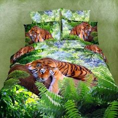Forest Green and Brown Tiger Print Jungle Animal Themed Nature Rustic Chic 3D Design Full Size Bedding Sets for Kids
