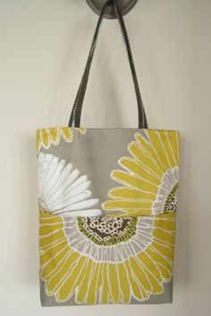 Reversible Yellow White Flowers Travel Shopping Tote by EGGcessory, $39.95
