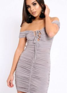 76687bd2521 Buy Gray Off The Shoulder Lace Up Ruched Dress for only  34.00. Browse the  UsTrendy