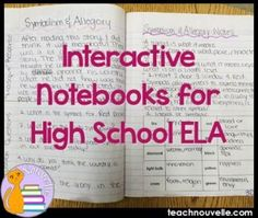How are you using Interactive Notebooks for high school? Check out these ideas for analytical, organized lessons packed with student input! How are you using Interactive Notebooks in high school? Check out these ideas for ana 8th Grade English, High School English, Ap English, English Lessons, Teaching Tools, Teaching Resources, Teaching Strategies, Teaching Ideas, Learning Websites