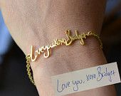 Personalized Signature/Handwriting Bracelet Bangle by bigEjewelry
