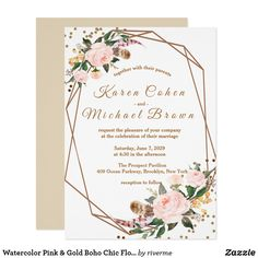Shop Watercolor Pink & Gold Boho Chic Floral Wedding Invitation created by riverme. Marriage Invitation Templates, Wedding Invitation Wording Examples, Printable Wedding Invitations, Floral Wedding Invitations, Shower Invitations, Custom Invitations, On Your Wedding Day, Wedding Tips, Wedding Cards