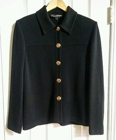 ST. JOHN KNITS-BASICS-BLACK SANTANA KNIT LOGO BUTTON JACKET-$1,195-Size 6
