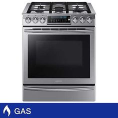 Samsung GAS Slide-in Stainless Steel Range with True Convection in Stainless Steel Gas Double Oven, Restaurant Kitchen Equipment, National Electric, Single Oven, Electrical Work, Kitchen Installation, Wall Oven, No Cook Meals, Kitchen Dining
