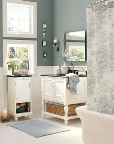 Benjamin Moore Alfresco by  Pottery Barn ~ a luxurious shade of deep, dusty blue inspires a sense of calm relaxation. A good Spa Bathroom color!