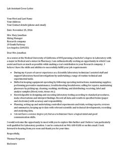 lab assistant cover letter sample - Writing A Cover Letter Template