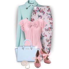 New Look Pink Floral Print Midi Skirt - Oli Bow Blouse ✯ ωнιмѕу ѕαη∂у