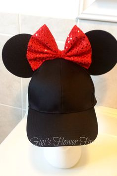 "Minnie Mouse Ears | Sparkly Bow | ""Ear Perfection - Stay Up Ears"" 