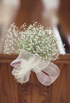 Baby's breath church pew aisle decorations