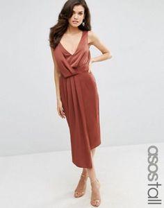 ASOS TALL Drape Front Midi Dress with Cross Back Straps