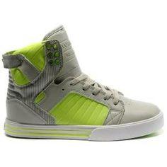 #Supra Shoes Vaider Black Green Grey Charcoal Patent High Tops