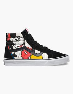 The Vans Disney Mickey Mouse Sk8-Hi shoes, is a legendary lace-up high top inspired by the classic Old Skool. It has a durable canvas upper with allover Mickey & Friends print featuring Mickey Mouse, Pluto, Goofy, and Donald Duck, a supportive and padded ankle, and Vans vulcanized signature Waffle Outsole. Imported.<BR><BR>Vans and Disney come together for a magical collaboration featuring iconic Disney characters. Sharing a rich heritage rooted in Southern California, Vans and Disney are…