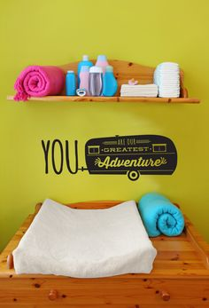"""You Are Our Greatest Adventure"" decal from @danadecals - love this touch in a funky, modern nursery!"