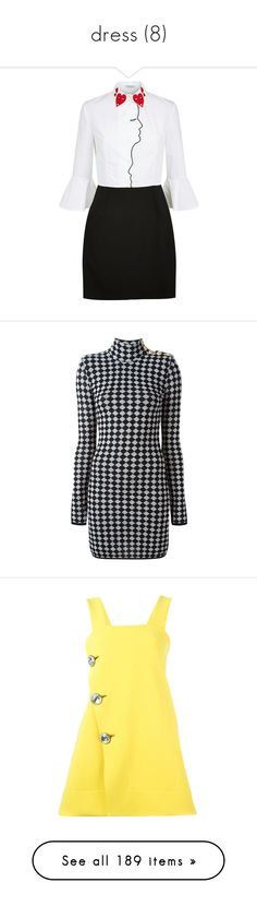 """dress (8)"" by geniusmermaid ❤ liked on Polyvore featuring dresses, broderie dress, metallic dress, vivetta dress, t-shirt dresses, shirt dresses, black, balmain dress, long sleeve wool dress and long-sleeve mini dress"