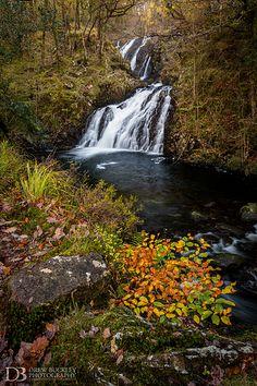 Rhaeadr Ddu Falls on the River Gamlan, Ganllwyd Woods, Snowdonia National Park, UK