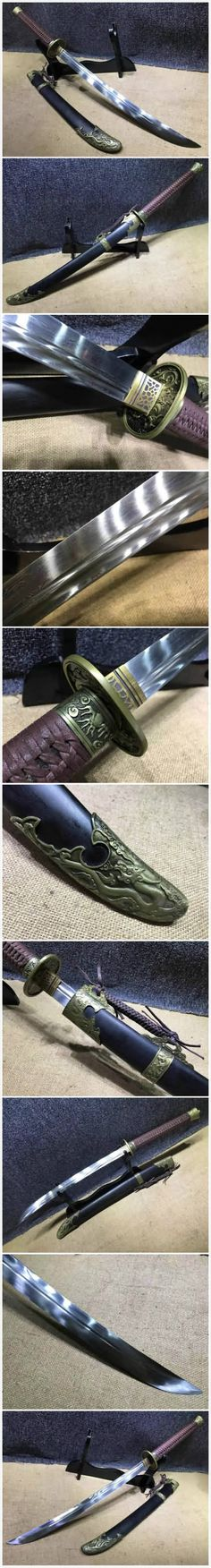 Broadsword,Damascus steel blade,Black scabbard,Alloy fitting,Length 35 inch