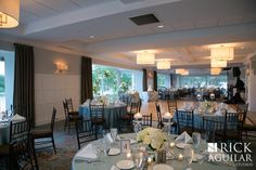 Room shot with linens by Graceful Tables in Nashville (Coastal Blue) and Fruitwood Chairs