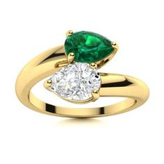 Two pear-cut gemstones mirror each other in this Emerald ring in 14k Yellow Gold. Fashioned from metal, this ring is great for designing in two birthstones. Natural Emerald Rings, Love Ring, Shades Of Green, Vintage Rings, Ring Designs, Birthstones, Tea Party, Pear, White Gold