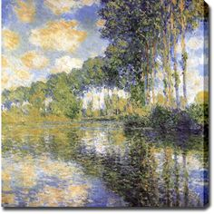 """Bring nature into your home with this square oil on canvas art. Monet's """"Poplars on the Epte"""" is a vibrant painting that has gallery-wrapped edges to increase its gorgeous look. You'll be able to hang this museum-quality painting as soon as you get it."""