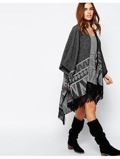 New Look Aztec Border Print Blanket Cardigan - Multi