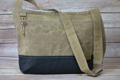 City Tote - Mailbag / Vegan Messenger Style   Black & Wheat Tan  Waxed Canvas, made in USA, Waterproof