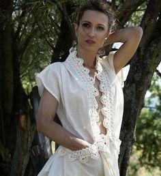 8fc9fe6f1e7dc SALE Cotton blouse  vest with hand crochet detail by AlexKnitwear