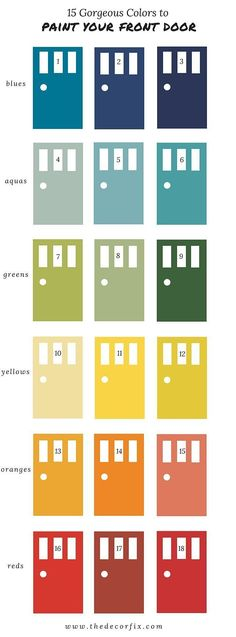 Front Doors: 15 Gorgeous Colors To Paint Your Front Door A Designers Tops Picks Front Door Ideas Front Door Color For Blue Grey House Front Door Design: Excellent Front Door Color For Trendy Home Yellow Front Doors, Painted Front Doors, Colored Front Doors, Grey Houses, Yellow Houses, Dog Houses, Front Door Makeover, Best Paint Colors, Paint Colours