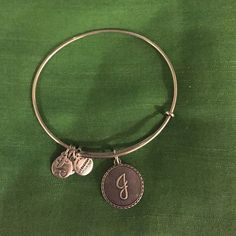 """Alex & Ani Initial """"J"""" bangle in sterling silver. In great condition. Alex & Ani Jewelry Bracelets"""