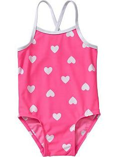 Heart-Print Swimsuits for Baby