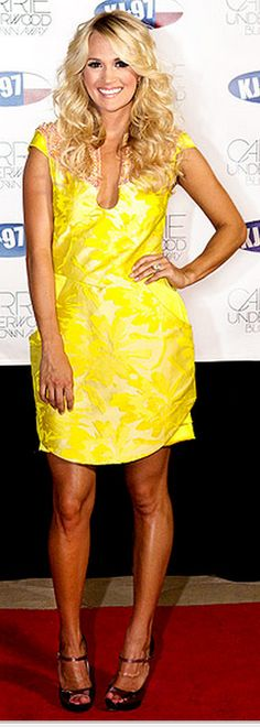Who made Carrie Underwood's yellow print dress that she wore in Austin?