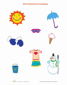 Time for a little fun in the sun! Explore a sunny day with your little learner. What items belong on a sunny day? Can you tell why certain items don't belong? Color Worksheets For Preschool, Seasons Worksheets, Summer Worksheets, Weather Worksheets, English Worksheets For Kindergarten, Preschool Arts And Crafts, Preschool Science, Kindergarten Reading, Kindergarten Activities