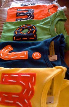 cute shirt idea, felt letters and yarn @Brenda Waterworth Palma