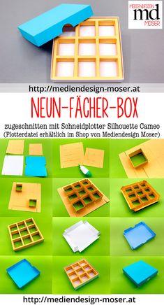 Geschenkbox mit neun kleinen Innenfächern. Zugeschnitten mit Silhouette Cameo.