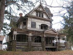 """This fabulous mansion is a great example of George F. Barber's design no. 37 from """"New Model Dwellings."""" I truly hope someone will purchase this place soon and prevent it from falling even more into ruin.  It just breaks my heart to see something so beautiful so mistreated.  Located in Fleischmanns, NY"""