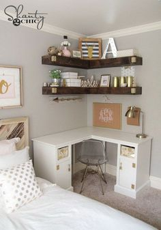 Beautiful Teenage Girls' Bedroom Designs Add more storage to your small space with some DIY floating corner shelves!Add more storage to your small space with some DIY floating corner shelves! Floating Corner Shelves, Corner Shelf, Corner Shelving, Corner Shelves Bedroom, Bedroom Shelving, Floating Desk, Corner Vanity, Floating Shelves Bedroom, Room Shelves
