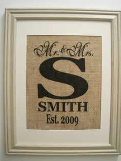 Burlap Print Burlap Wedding Monogram Burlap Art by SunBeamSigns, $21.00