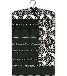 2 Sided Black Damask Hanging Jewelry Organizer with Pockets and Tabs 17.5 x 1 x 29
