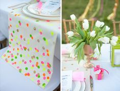 Table Runners- Neon pops of pink, orange, yellow and green with a touch of gold.  Easy to to do.