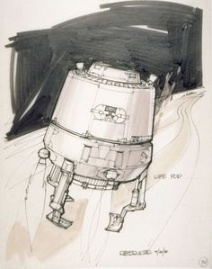 Escape pod concept with tripod landing gear by Joe Johnston