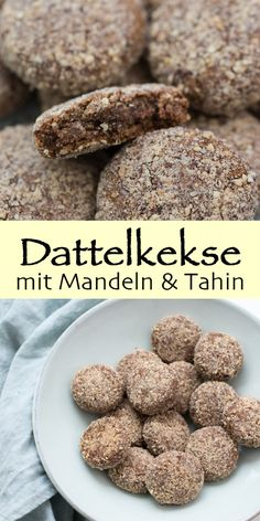 Date biscuits with almonds (cookie recipe without sugar) Elle Republic Dattelkekse mit Mandeln (Plätzchen Rezept ohne Zucker) Easy Cookie Recipes, Raw Food Recipes, Sweet Recipes, Healthy Sweets, Healthy Baking, Healthy Food, Deglet Nour, Date Cookies, Crack Crackers