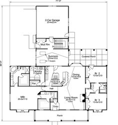 Country Style House Plans - 2800 Square Foot Home , 1 Story, 3 Bedroom and 3 Bath, 2 Garage Stalls by Monster House Plans - Plan 77-329