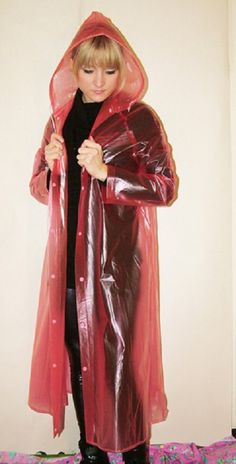 Pink Raincoat, Plastic Raincoat, Plastic Mac, Rain Coats, Macs, Rain Wear, Hoods, Women, Raincoat