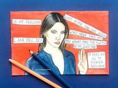 In My Feelings, Watercolor Paintings, Fan Art, Comics, Drawings, Artwork, Artist, Instagram, Lana Del Rey