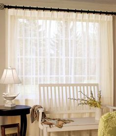 "Rod Pocket Curtains, Drapes, Country Curtains Pinch Pleat Sheer 96"" Wide - Country Curtains®"