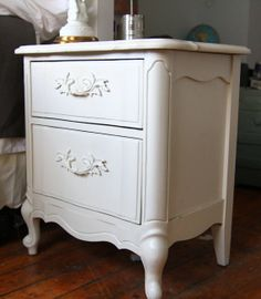 Victorian shabby chic bedside table by ClairesAntiquesNY on Etsy, $100.00