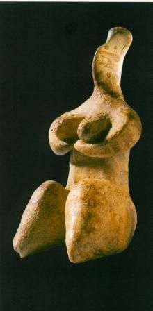 Fired clay figurine of the Halaf Culture, North Syria. Pottery Neolithic, 6400-5800 B.C.E. Height 7.6 cm, traces of painting.